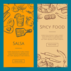 Vector banner or flyer template with mexican food elements