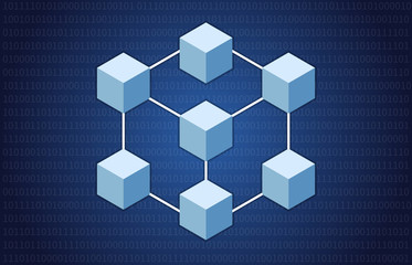 Cryptocurrency blockchain decentralized distributed network with blocks illustration for websites