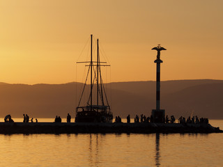 harbor in Siofok during sunset