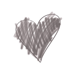 Gray Heart Isolated on a White Background Hand Drawn Illustration