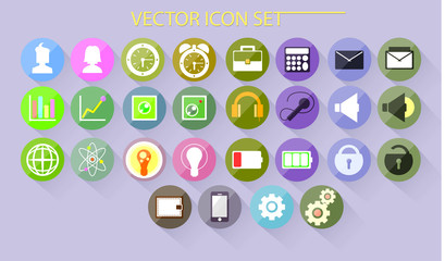 Beautiful colored icons for different UI. Vector buttons