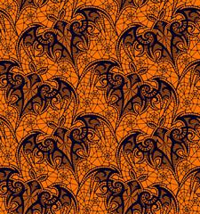Bat. Seamless pattern. Black Lace  pattern. Orange Background.
