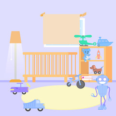 Baby room interior. Flat design. Baby room with a window, shelf, toys. Children s boys room.
