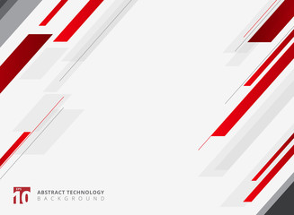 Abstract technology geometric red color shiny motion diagonally background.