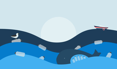 Vector Illustration. Poster with Ecological Global Issue: Plastic Pollution in the Ocean. The Whale with Plastic Bottles in Stomach, The Seabird sitting on Flowing Plastic Bottle.