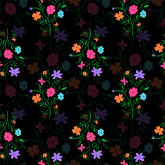 Floral seamless pattern with little flowers on black background