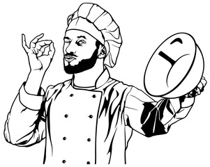 Chef Gesture Delicious - Black and White Outlined Illustration, Vector
