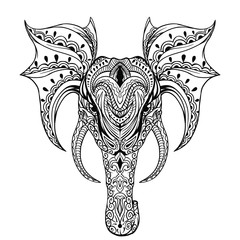 Vector ethnic elephant. African tribal ornament. Can be used for a coloring book, textile, prints, phone case, greeting card, business card