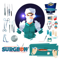 Surgeon doctor character design with Surgical Tools. operating room tools and equipments. typographic - vector illustration