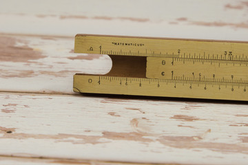 Wooden Vintage Slide Rule: Mathematical Calculator - School Education Theme