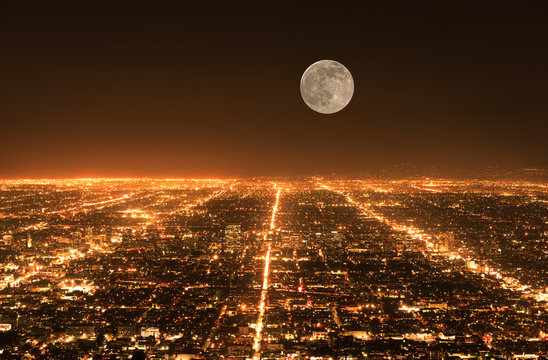 Los Angeles traffic. Cityscape panorama at night