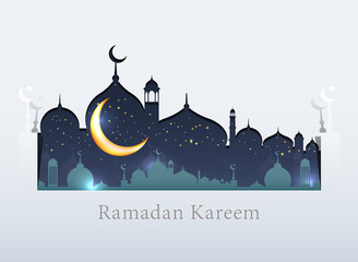 Ramadan Kareem background icon vector illustration design graphic with islamic crescent moon 3D.