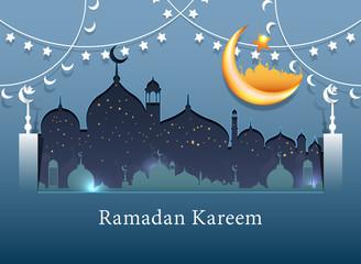Ramadan Kareem background icon vector illustration design graphic with islamic crescent moon 3D.