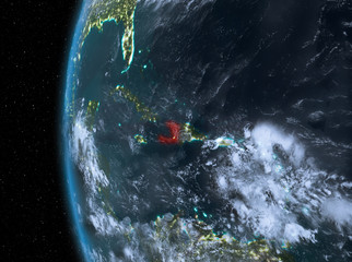 Haiti in red at night