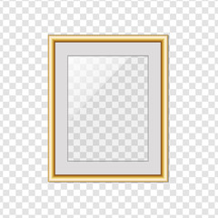 Golden picture or photo frame with glass isolated on transparent background with shadow. Stock vector illustration, eps 10