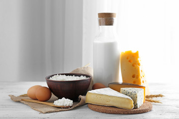 Fresh dairy products and eggs on table