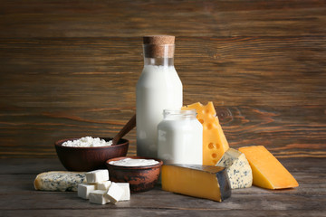 Fresh dairy products on table