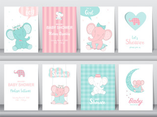 Set of baby shower invitations cards,birthday card,elephants, poster, greeting, template, animals, Vector illustrations
