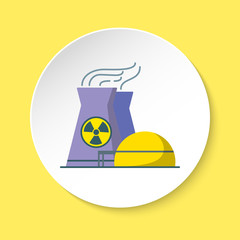 Nuclear power plant icon in flat style on round button