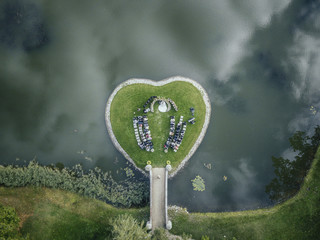 A beautiful marriage ceremony location, in the shape of heart.