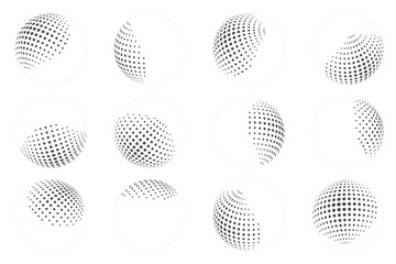 Dot ball sphere abstract design element set vector illustration