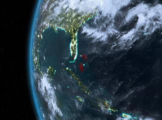 Bahamas in red at night