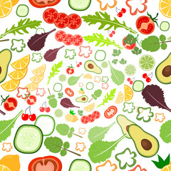 Seamless background pattern of organic farm fresh fruits and vegetables. Flat style design on transparent background.