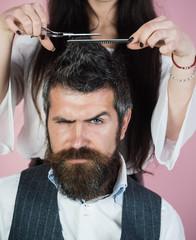 Couple make haircut, love relations.