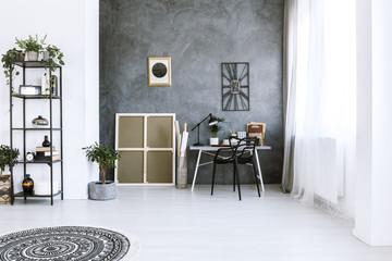 Plant in bright workspace interior