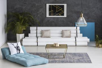 Designer gray blue room interior