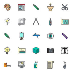 Drawing tools filled outline icons set, line vector symbol collection, linear colorful pictogram pack. Signs, logo illustration, Set includes icons as color palette, pencil, scissors, magic wand, crop