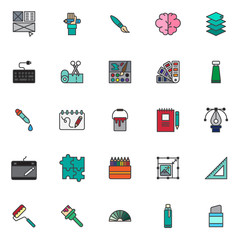 Drawing elements filled outline icons set, line vector symbol collection, linear colorful pictogram pack. Signs logo illustration, Set includes icons as layout, hand with pencil, paint brush, scissors