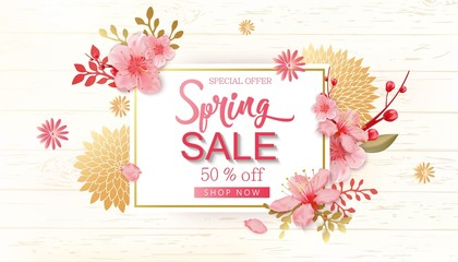 Spring Sale Vector Illustration. Banner With Cherry Blossoms.