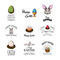Big Collection of Happy Easter Objects.  Illustration.