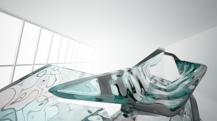 Abstract white and colored gradient glasses interior  with window. 3D illustration and rendering.