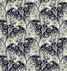 Bat. Seamless pattern. Black Lace  pattern. Yellow background.