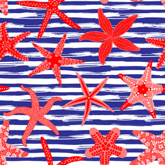 Sea stars seamless pattern. Marine backgrounds with starfishes and striped brush strokes. Starfish underwater invertebrate animal. Vector illustration