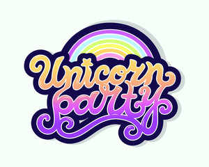 Unicorn Party text as logotype, badge, patch, icon isolated on background. Hand drawn lettering Unicorn Party for postcard, card, invitation, flyer, banner template, birthday. Vector illustration