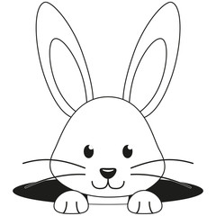 Line art black and white rabbit face hole icon.