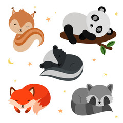 Adorable flat sleeping animals set.
