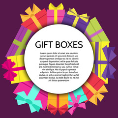 Background with a colorful gift boxes. Vector illustration.