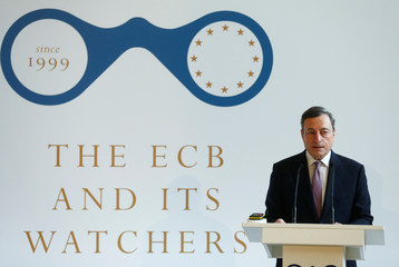 ECB President Draghi speaks during the ECB and Its Watchers conference in Frankfurt