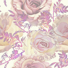 Roses seamless pattern. Watercolor background. Hand painted illustration.
