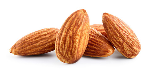 Almonds. Almond nuts isolated on white. Full depth of field.