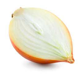 Onion bulb isolated. Onion slice on white background. With clipping path. Full depth of field.