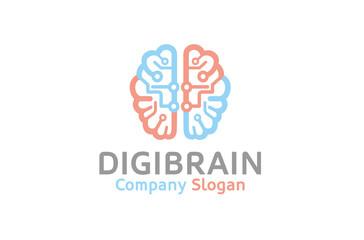 Creative Smart Blue Pink Brain Technology Logo Design Illustration