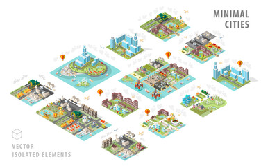 Set of Isolated Isometric Minimal City Maps . Elements with Shadows on White Background Fotomurales