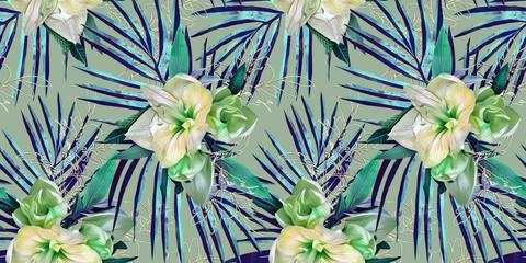 Amaryllis  seamless pattern.