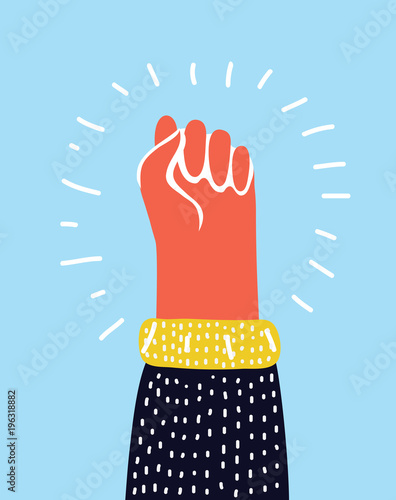 Colorful Raised Up Clenched Male Fist Symbol Of Demonstration