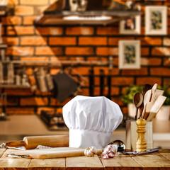 cook hat on desk